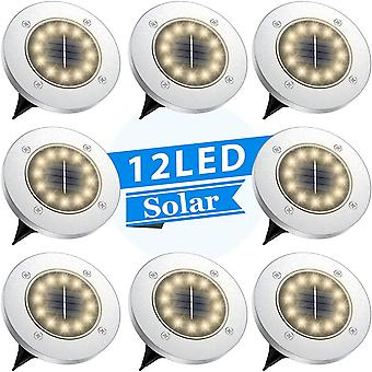 Solar Disk  And Ground Light With 12 Led Bulbs Waterproof Stainless Steel Suitable For Walkway  Pathway  Lawn