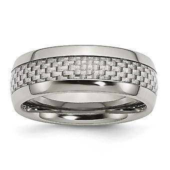 Stainless Steel Engravable and Grey Carbon Fiber 8mm Polished Band Ring Jewelry Gifts for Women - Ring Size: 6 to 13