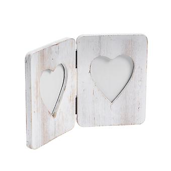 """Nicola Spring Double White Wooden Freestanding Photo Picture Frame - 4 x 6"""""""