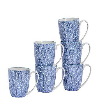 Nicola Spring 6 kpl geometrinen kuviollinen tee- ja kahvimukisetti - Suuret posliinilattemukit - Tummansininen - 360ml