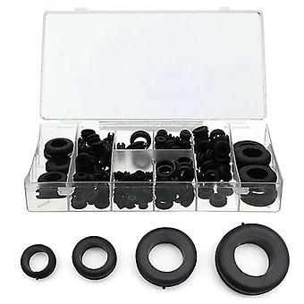 180pcs/doos Rubber Grommet Pakking voor draadkabel Zwart assortiment Set