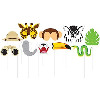 Jungle Safari Fødselsdag Photo Booth Rekvisitter x 10