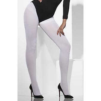 White fancy dress tights - adult - one size