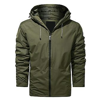 YANGFAN Men's Hooded Padded Jacket Solid Color Zipper Coat