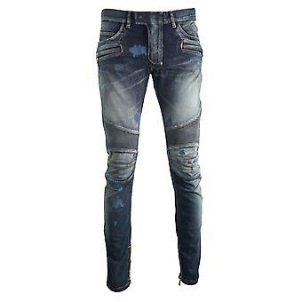 Balmain Skinny Biker Distressed Blue Jeans