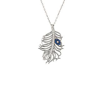 Peacock Feather Evil Eye Collier Argent