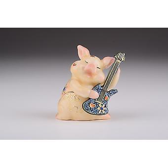 Pig Playing Guitar Trinket Box