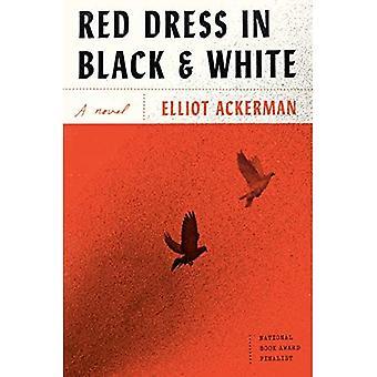 Rotes Kleid in schwarz und weiß