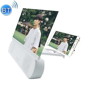 F9 10 inch Universal Mobile Phone Screen Amplifier HD Video Amplifier with Silicone Suction Cup Stand & Bluetooth Speaker (White)