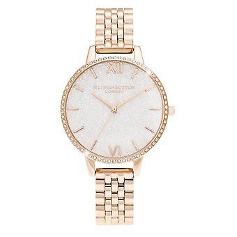 Olivia Burton Ob16gd67 White Demi Glitter Dial Sparkle Bezel Rose Gold Ladies Watch