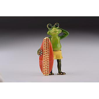 Frog Holding A Surfboard Trinket Box