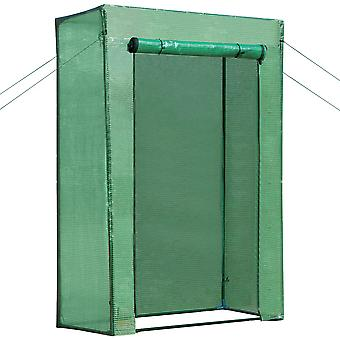 Outsunny Mini Tomato Garden Greenhouse Growhouse Steel Frame PE Cover with Roll-up Door Green 100L x 50W x 150H (cm)