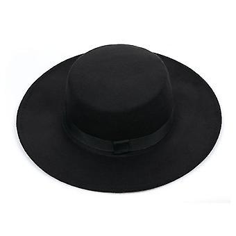 Classic Solid Color Felt Fedoras Hat Belt, Blend Jazz Cap Large Brim Simple
