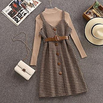 Streetwear Two Piece Dress Autumn Winter Sweater Wool Knee-length Dresses With