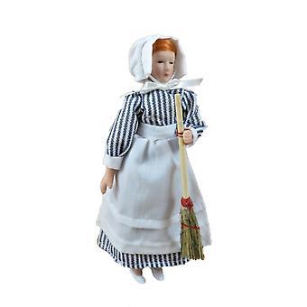 Dolls House Skullery Kitchen Maid Viktoriaaninen palvelija 1:12 Asteikko Posliini Ihmiset