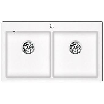 Granite sink double basin cream white