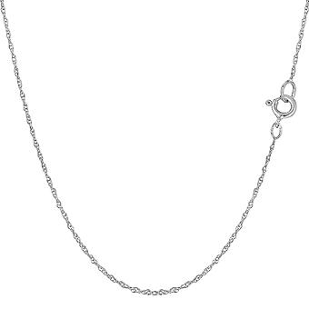14k White Gold Rope Chain Necklace, 0.7mm