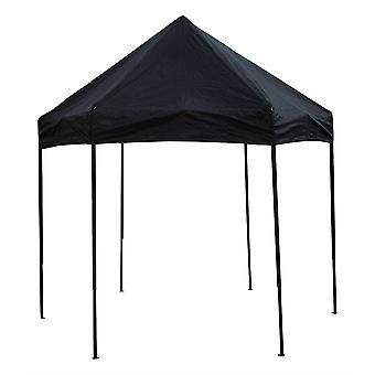 Bike It Quick-Up 3m Diameter Hexagon Gazebo With Steel Frame Without Walls - Black