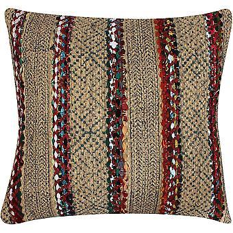20 X 20 pulgadas tejida a mano almohada de acento de yute con estampado de bloque, marrón y rojo