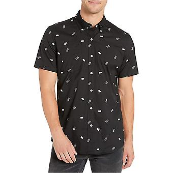 Goodthreads Men's Standard-Fit Short-Sleeve Printed Poplin Camicia, Bianco Aloha...