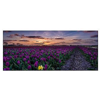 Bunte Blumen Malerei in Polyester, Holz, L70xP3xA100 cm