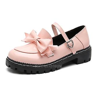 Japanese College Students Round Toe Buckle Straps Bow Pu Leather Shoes