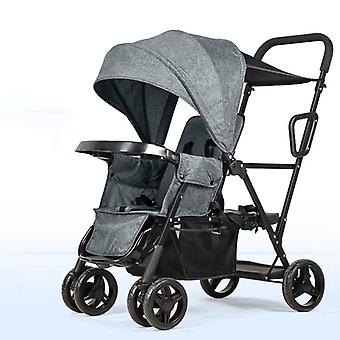 Twin Baby Stroller With One Button Folding, Lightweight Double Stroller For 0-6