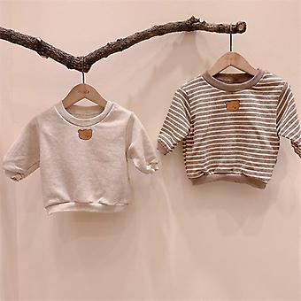 Bear Print Swea T-shirt Cotton Long Sleeve Tops