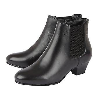 Lotus Black & Croc-Print Leather Victoria Ankle Boots (Taille 5)