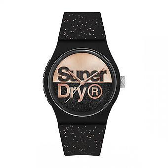 Superdry Watch SYL273B-Urban glitter brand runde sort plastik sag sort urskive og guld pink sort mønstret silikone armbånd