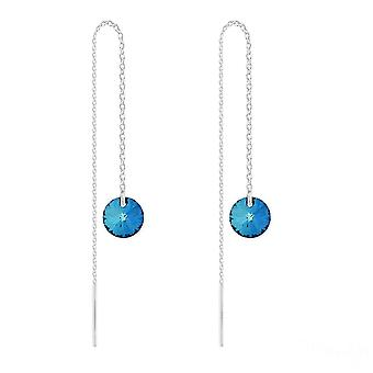 Silver chain earrings with bermuda blue swarovski crystal