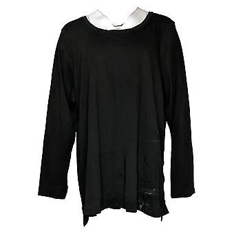 Isaac Mizrahi Live! Women's Plus Top Essentials Pima Black A389762