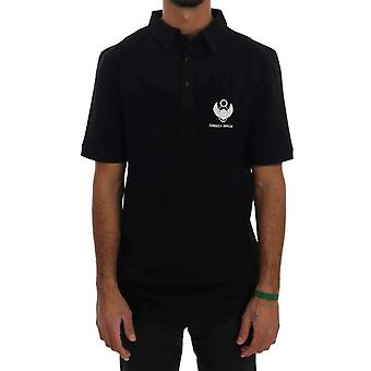 Black Cotton Stretch Polo T-Shirt