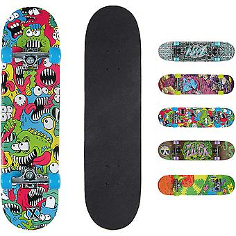 Xootz Kids Complete Beginners Double Kick Trick Skateboard Maple Deck - 31 x 8 Inches Chomper