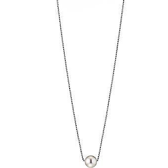 Collana Perla Adriana Bianco freshwater 10-11 mm rodio argento 50 cm L13