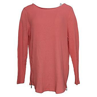 Belle By Kim Gravel Women's Sweater Waffle Side Seam Zippers Pink A391275