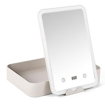 Makeup storage box flat storage vanity mirror storage box smart led fill light with countdown makeup mirror