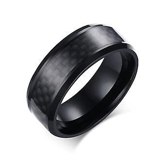 Fashion Black Carbon Fiber Punk Ring Bijoux