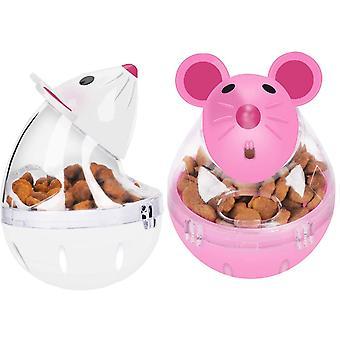 2pcs Katze Essen Kugeln Slow Feeder Spielzeug Mäuse Tumbler geformt Pet Behandeln