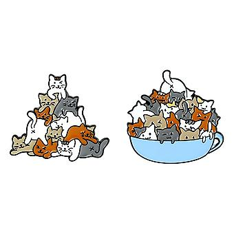 Enamel Pin Cat, Coffee Cup, Mug, Brooches Bag, Lapel Pin, Cartoon Animal Kitten