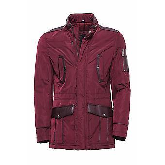 Leather modeled burgundy slim fit quilted jacket