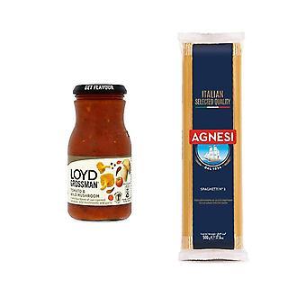 Kit de pâtes avec 2 produits, spaghetti italien, tomate et sauce aux champignons sauvages