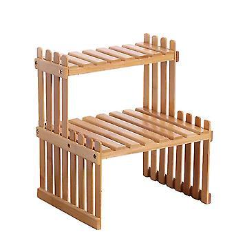 2 tiers bambu växt stativ hylla, skrivbord blomma kruka hållare för inomhus utomhus hem, 27x21x30cm