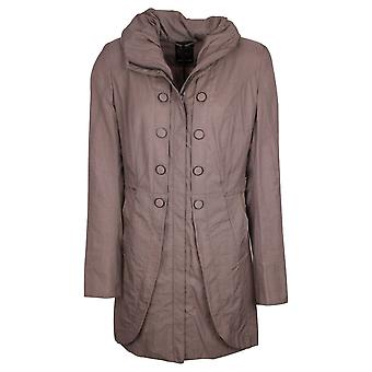 Creenstone Taupe Long Button Detail Coat With A Concealed Hood