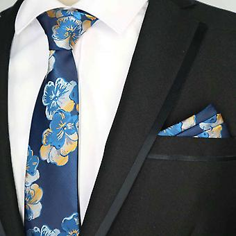 Sininen & oranssi häät kukka tie & tasku neliön setti