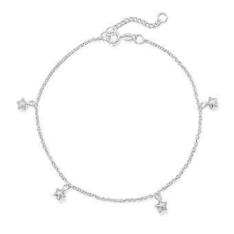925 Sterling Silver 9 Inch + 1 Inch Polished 5 Star Charm Anklet 9+1 Inch Spring Ring Closure Charms Mea Jewelry Gifts f