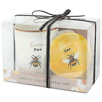 Queen Bee Ceramiczny kubek i zestaw coaster