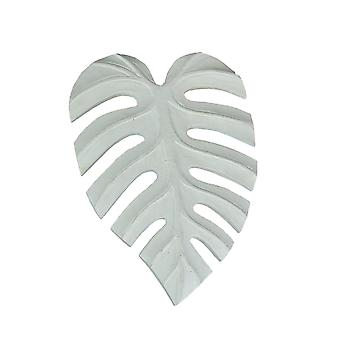 12 Inch White Tropical Leaf Hand Carved Wood Wall Art Hanging Plaque Home Decor