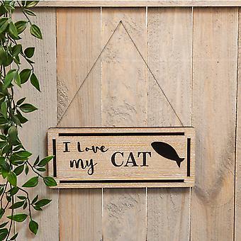 Bäst av ras naturlig träplatta - Jag älskar min katt