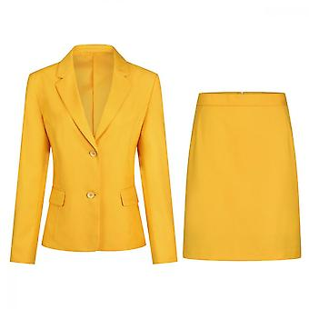 Homemiyn Women's Solid Color Suit Two-piece Suit Casual Slim Suit Soft And Skin-friendly (top & Skirt) 5 Colors